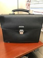 BROOKS BROTHERS Black Leather Classic BRIEFCASE Business Attache Bag with strap