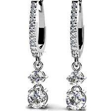 1.5 carat Round cut Diamond Dangle Earring, F-G Color VS/SI1 clarity 14K Gold