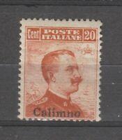 S36208 Egeo Kalymnos 1917 MNH Definitives 20c Saxon 9 1v Without Filigree