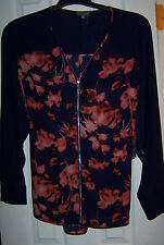 VINCE CAMUTO LONG SLEEVE TOP 100% POLYESTER CITY BLUES BLOUSE SZ 1X NWT