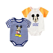 Newborn Baby Boys/Girls Mickey Mouse Stripe Romper Short Sleeve Summer Jumpsuits