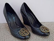 bcba0a30b TORY BURCH Sophie black patent snake texture logo detail wedges heels size 7