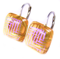 "DICHROIC Glass Earrings Amber Gold Pink Magenta Zigzag Lever Dangle 1/2"" 12mm"