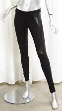 HELMUT LANG Womens Black Knit Leather Panel Stretch Leggings Skinny Pants 0