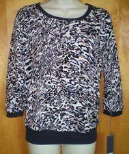 NEW womens size XS navy blue black white khaki leopard animal print JLO shirt