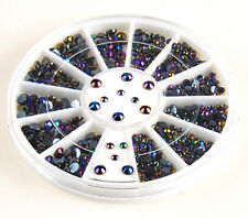2-3mm 300pcs 3D Crystal Rhinestone Glitter Nail Art Tips DIY Decoration Wheel