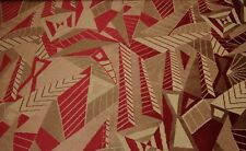 """CLARENCE HOUSE ARBOLES RED GEOMETRIC VELVET FURNITURE FABRIC BY THE YARD 52""""W"""