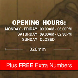 Custom Opening Hours Sticker Sign 320 x 100mm
