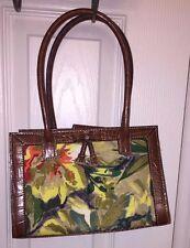 Liz Claiborne Brown Crock Embossed Leather Satchel Handbag Tassel Floral Purse