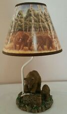 """Vintage Brown Bear Desk Lamp with Decorative Shade 14"""""""