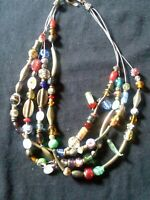 Vintage 4 strand Multi colored Glass Metal Plastic Beaded Layered Necklace