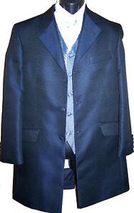 Mens Blue Prince Edward Suit Jacket for Formal Wedding Occasion Blue scroll