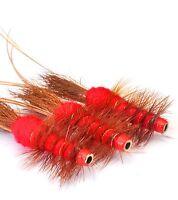 Red Frances x 3 salmon flies - Tungsten, Brass & Conehead