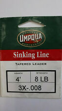 "1= UMPQUA "" Sinking Line "" Tapered Leader  4 ft 8 lb 3x-.008"