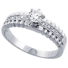 Women 925 Sterling Silver Rhodium Plated, Solitaire CZ Ring 6mm