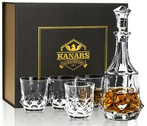 KANARS Scotch Decanter Set with 4 Whiskey Glasses in Gift Box-Lead Free Crystal