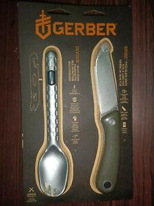 Gerber Spine + Devour in Blister packagign, Full tang knife and multi fork 3850