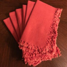 Set of 6 Pier One Cloth Cotton Fringed Napkins - Paprika