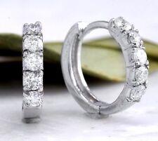 0.70Ct Natural Diamond 14K Solid White Gold Hoop Earrings