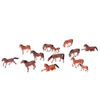 10Pcs 1:87 HO Scale Painted Farm Animals Model Horse Train model Layout F A8A