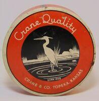 Antique Old Vintage 1940s CRANE GRAPHIC TIN ROYAL TYPEWRITER TIN TOPEKA KANSAS
