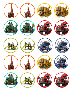 Dinotrux Image Birthday cupcake topper 4cm X 20 round A4 icing sheet McQueen