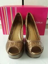 BCBGirls Wedge Bronze Woven Bronze Leather Size 8.5 (NIB)