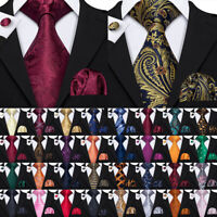 USA Mens Silk Tie Set Red Blue Black Grey Green Pink Necktie Pocket Square Party