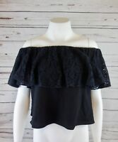 NEW RACHEL Rachel Roy Women's Lace Off The Shoulder Ruffle Top Black Sz XS $89