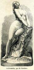 ANDROMEDA INCATENATA A UNA ROCCIA.Perseo.Mito.Mitologia Greca.Stampa Antica.1861
