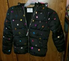 Girls Old Navy Black Puffer Jacket Hooded Hearts Size Large Winter Coat