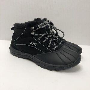Ryka Tangent Black Suede Faux Fur Lined Waterproof Boots Women's Size 8.5 Wide