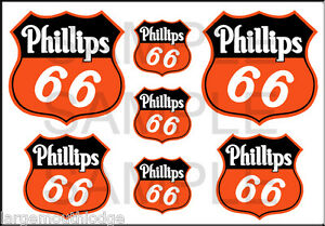 VINTAGE STYLE 1 3/4 AND 1/2 INCH PHILLIPS 66 OIL DECAL STICKER