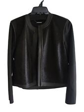 NWT Elie Tahari Astor Cropped Perforated Jacket Leather Wool Calf Hair Sz:M $898