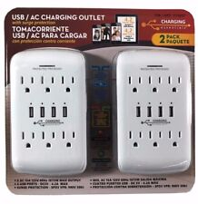 2 pack Charging Essentials USB Charging Outlet 4 USB Ports with Surge Protection