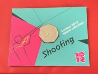 London 2012 Olympic SHOOTING 2011 50p Fifty Pence BU Coin Official Sealed Card