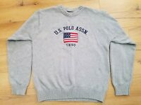U.S. POLO ASSN. Men's Large Sweater American Flag Cotton Knit Gray