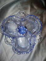 RARE CAPRICE Cambridge Glass Covered Candy Dish / Relish 3 part Moonlight Blue