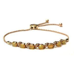 LeVian 14k rose gold .12ct diamond Ethiopian Opal Bolo bracelet 8.7g adjustable