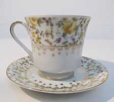 Choice Imports Tea Cup and Saucer Japan Yellow Rose Gold Accents No Flaws