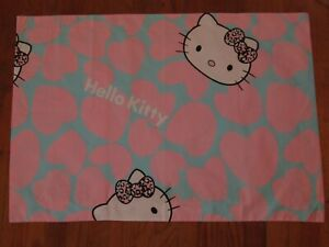 Handmade Hello Kitty Pillowcase Pink & Blue Hearts Cotton Fabric Standard Size