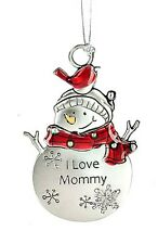I Love Mommy Christmas Tree Ornament Snowman Colored Zinc Mother by Ganz