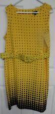 Size 18W Sleeveless Dress Belted Yellow & Black ILE New YorkVery Good Preowned