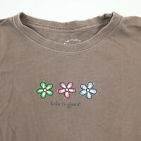 Life is Good T-Shirt Youth Size SMALL (5-6) Flowers Brown Short Sleeve Soft