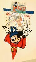Vtg Walt Disney World 25th Anniv Souvenir Pennant Decal Button Pack NIP!