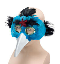 Turquoise Blue and Black Bird Feather Mask Fancy Dress Party Masquerade Ball