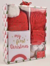 Baby 4pcs Christmas Outfit, Red/White/Gold, 0-6 months, Gift Boxed