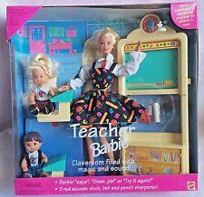 1995 Teacher Barbie Set 2 Students Desks Board Real Sounds New in Pkg Mattel