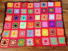 Vtg Handmade Granny Square Afghan Throw Twin Blanket Rainbow Crocheted 46x74
