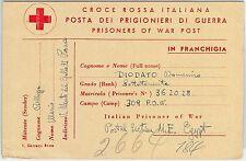 59764 -  ITALY - POSTAL HISTORY: RED CROSS Italian POW CARD - 1946